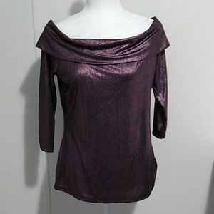 City Streets Off the Shoulder Purple Top Large